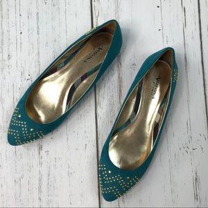 Arizona Jeans Co Teal Blue Gold Studded Flats 8.5